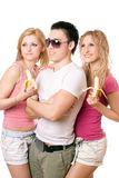 Portret van drie gelukkige jonge mensen Stock Afbeeldingen
