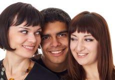 Portret van drie gelukkige vrienden Stock Foto