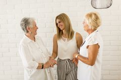 Portret van drie generaties van vrouwen in dezelfde familie Stock Foto's
