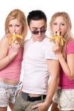 Portret van drie speelse jongeren Stock Afbeeldingen