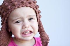 Portret van droevig babymeisje - 11 maanden oud royalty-vrije stock fotografie