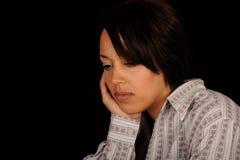 Portret van droevige jonge vrouw Stock Afbeelding