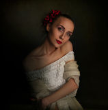 Portret van droevige vrouw in retro kleren Stock Foto