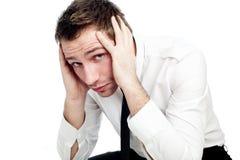 Portret van droevige zakenman Stock Fotografie
