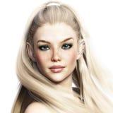 Portret van een aanbiddelijk fantasiekarakter Elegant vrouwelijk elf met een witte achtergrond royalty-vrije illustratie