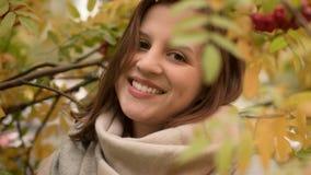 Portret van een aantrekkelijke Kaukasische vrouw die tegen een achtergrond van de herfstgebladerte glimlachen Stock Afbeeldingen