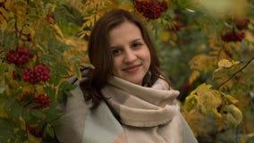 Portret van een aantrekkelijke Kaukasische vrouw die tegen een achtergrond van de herfstgebladerte glimlachen Stock Afbeelding