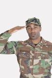 Portret van een Afrikaanse Amerikaanse militair die van de V.S. Marine Corps over grijze achtergrond groeten Royalty-vrije Stock Afbeeldingen
