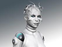 Portret van een androïde vrouw. Stock Foto