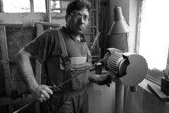 Portret van een arbeider Stock Foto's