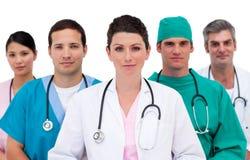 Portret van een assertief medisch team stock fotografie