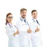 Portret van een assertief medisch team tegen een witte achtergrond royalty-vrije stock foto