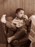 Portret van een babyjongen in sepia Royalty-vrije Stock Afbeelding
