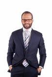Portret van een bedrijfsdiemens op witte achtergrond wordt geïsoleerd. Studio stock fotografie