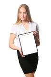Portret van een bedrijfsdievrouw op witte achtergrond wordt geïsoleerd Royalty-vrije Stock Foto's