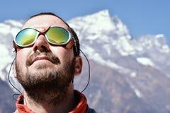 Portret van een bergbeklimmer Stock Foto