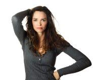 Portret van een betrokken vrouw Stock Foto's