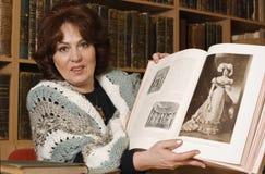 Portret van een bibliothecaris stock afbeelding