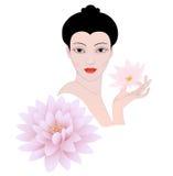 Portret van een bloem van de meisjeslotusbloem Royalty-vrije Stock Afbeeldingen