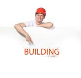 Portret van een bouwer stock afbeeldingen