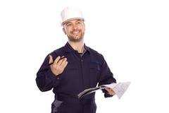 Portret van een bouwer in een witte helm op een wit Stock Foto's