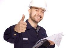 Portret van een bouwer in een witte helm op een wit Stock Foto