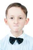 Portret van een boze jonge jongen Stock Foto's