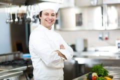 Portret van een Chef-kok in zijn Keuken Stock Foto's