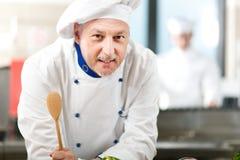 Portret van een Chef-kok in zijn Keuken Royalty-vrije Stock Afbeelding