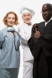 Portret van een chirurg een chef-kok en een rechter stock afbeelding