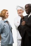Portret van een chirurg een rechter en een chef-kok Stock Foto