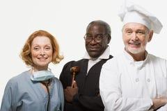 Portret van een chirurg een rechter en een chef-kok royalty-vrije stock foto's