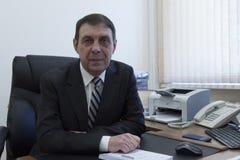 Portret van een directeur van het bejaardebureau stock afbeeldingen