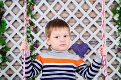Portret van een drie-jaar-oude jongen op een riem de jongen in gestreepte sweater zit op schommeling De lentestemming, bloemendec Stock Fotografie