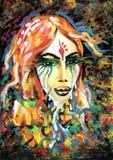 Portret van een droevige rode haired Indische vrouw vector illustratie