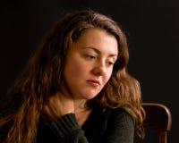 Portret van een droevige vrouw Stock Foto's