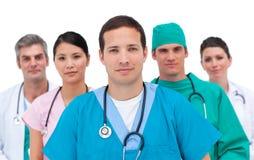 Portret van een ernstig medisch team Stock Afbeelding
