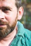 Portret van een gebaarde mensenclose-up Stock Foto