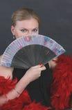 Portret van een geheimzinnige vrouw met een ventilator Royalty-vrije Stock Foto's
