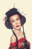 Portret van een Geisha Stock Afbeeldingen