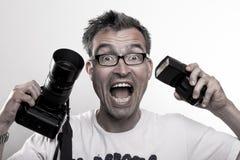 Portret van een gekke fotograaf Stock Afbeelding