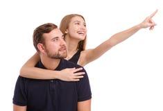 Portret van een gelukkig die paar, op witte achtergrond wordt geïsoleerd royalty-vrije stock foto's