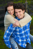 Portret van een Gelukkig Paar die in openlucht glimlachen Royalty-vrije Stock Afbeelding