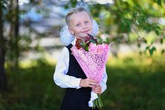 Portret van een gelukkig schoolmeisje in een uniform met boeket van bloemen Royalty-vrije Stock Afbeelding