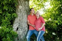 Portret van een gelukkig zwanger paar met nootboom. Royalty-vrije Stock Afbeelding