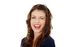 Portret van een gelukkige jonge tienervrouw stock foto