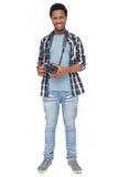 Portret van een gelukkige mannelijke fotograaf royalty-vrije stock foto's