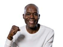 Portret van een gelukkige mens die vuist dichtklemt Stock Afbeeldingen