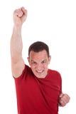 Portret van een gelukkige mens met zijn opgeheven wapen Royalty-vrije Stock Fotografie