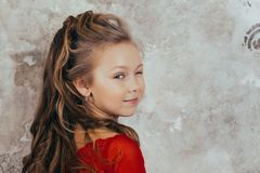 Portret van een glimlachend jong meisje in een rode kleding en met een mooi kapsel Het schot van de studio stock afbeelding